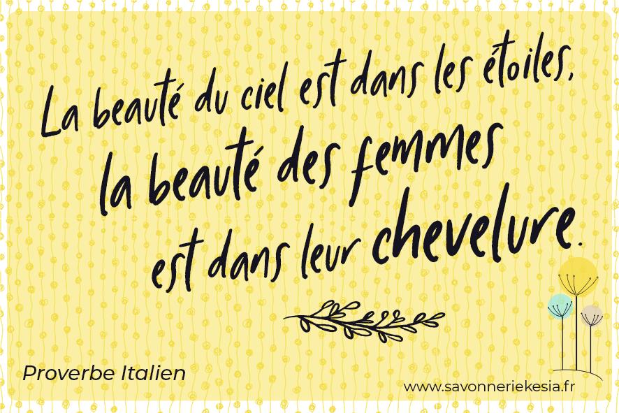 """Phrase inspirante montrant qu'avoir de beaux cheveux en pleine santé est essentiel pour être belle au naturel. """" La beauté du ciel est dans les étoiles, la beauté des femmes est dans leur chevelure""""."""
