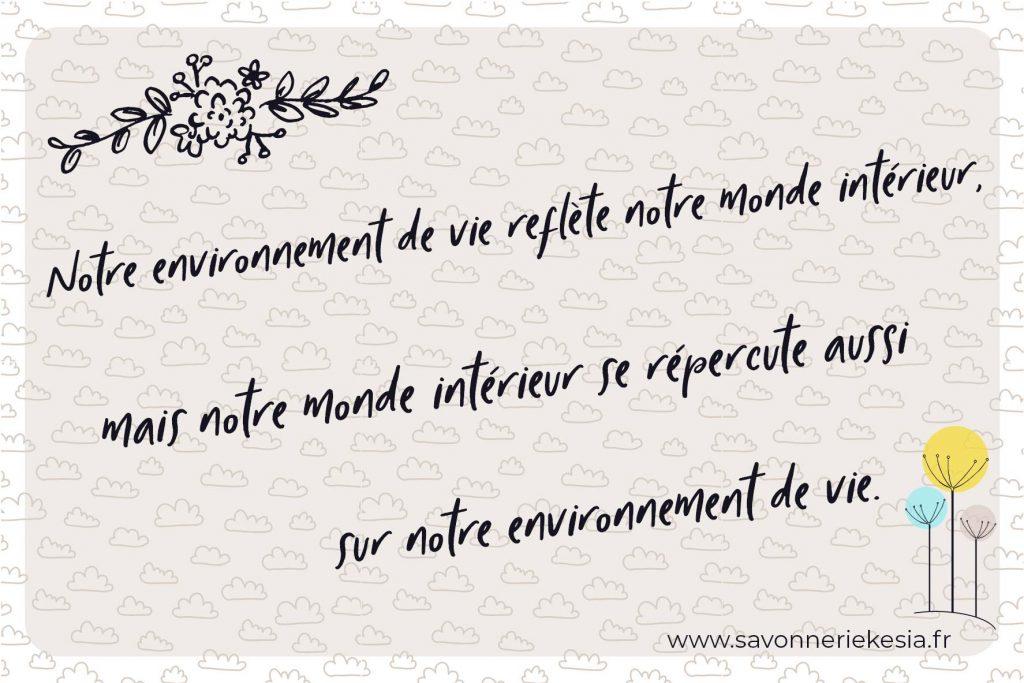 Citation pour ne pas perdre de vue que notre monde intérieur et notre environnement sont intiment liés. Trouver la raison de son besoin de désencombrer est à la base de tout.